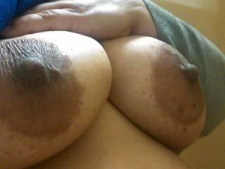 My Bbw Latina tits. I love big dark nipples