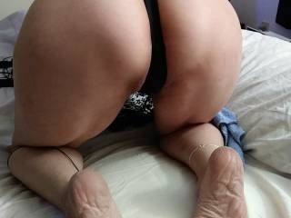 bent over for the camera with sexy thongs on for hubby