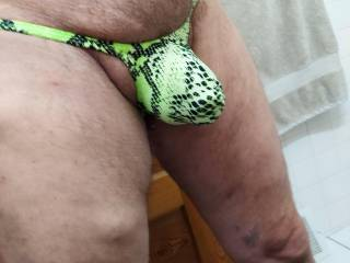Mens Bulge Pouch G-string Thong Bikini Underwear Snake Green