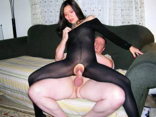 She looks so damn sexy in that bodystocking and that cock looks so good stretching that tight, asian pussy.  More please.