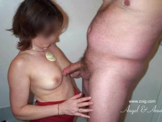 """Getting ready for work when my husband walked in on me """"ERECT"""" and then wanted to """"RUB HIS COCK"""" over my small 34B cups...  How could I resist?...  Soooo """"HORNY""""!"""