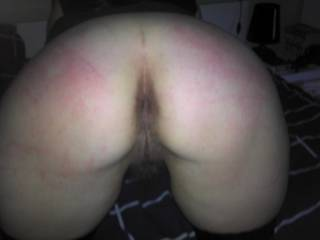 My little whore bending over and spreading pussy and ass.