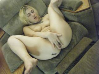 wife rubbing herself for me, pulling her legs open to show me she is flexable