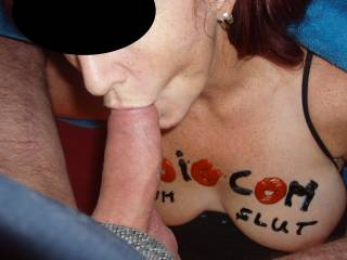 Ooooo, that's my girl....I love doing the same thing. Hubby says that this is a hot picture of you sucking the Superintendent's cock. You look so hot doing it that he wishes that you were sucking his cock. Again, you go girl. Eat that cock. Mrs.M & G Ms.M