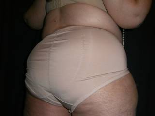 5 pics for you of my round bbw ass in big panties.