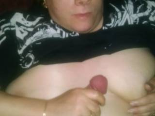 Ficked my wifes tits and mouth till I cum in her face and tits real amatuer