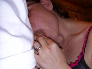 my sexy wife giving me a blowjob, damn she's good. Do you wanna suck my cock?