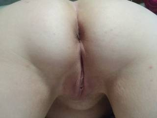 A view of my wife's beautiful pussy from behind. Sexy!!!