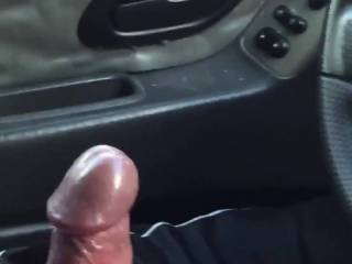 wife watching me stroke my cock in car