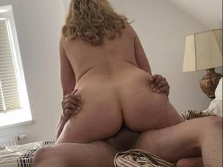 Riding his cock deep while he grab my cheeks!! Who want to grab my ass like that?
