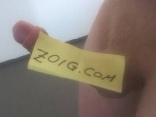 Photo for proving that I\'m real :) Put a post-it on my hard cock.