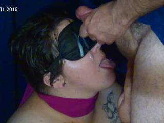 """Giving TightLibra a """"live"""" tribute. Being tied up and blindfolded, with a scarf over her mouth, was her own idea. It turned her on, not knowing what I was going to do next."""