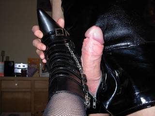 Lynn loved him rubbing his cock against her boots xxx