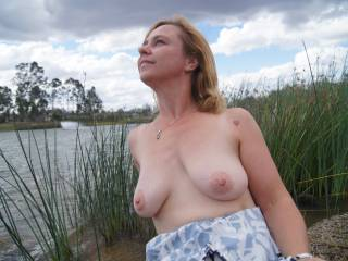 Thought I would take a walk down to the lake. There is a walking track nearby but I felt a bit naughty and thought I would take some pics. It was sneaky fun and I nearly got caught by some people walking on the track. Do you like it? PM if you want more.