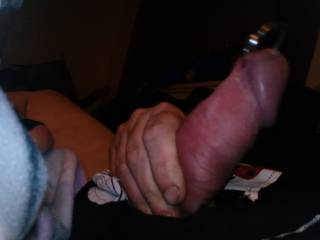 Playing with my pierced cock
