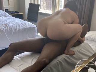 Riding that big black cock like a dirty little whore