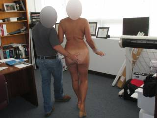 As usual we met this guy online.  He had us come to his building and I blindfold her and had her undress as we walked into the office.