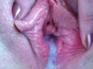 WOW! Beautiful Creampie !! I would love to eat every drop of that cum out of your Beautiful pussy !