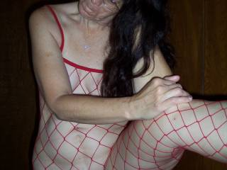 Red fishnet.Candi