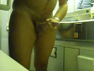 Another jerking & cumshot for my sweety - what better can you do on a plane?