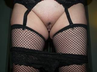 More of fishnets and black lingerie as seemed quite popular with some pulling my lacy panties down.