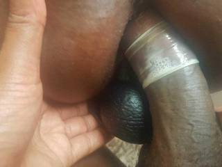 Dildo in her pussy.  Cock slowly going in her tight ass.  Any one wants to join