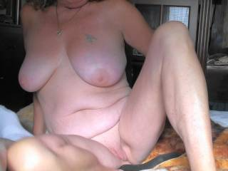 Boyfriend snapped this photo as I was getting re-positioned to start sucking his dick. He says I still have an amazing body at 55, what do you think?