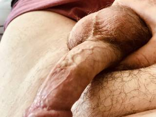 My cock, almost fully hard