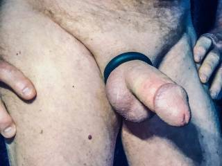 Cock ring has my balls and penis tight.