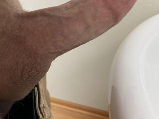 """My wife was picking out a new dildo.  Took a pic of my cock for reference.  Ive never measured myself.  I'm 6.5"""" long (BP) and 5 7/8"""" circumference.  Good, bad?"""
