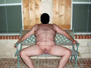 Hubby posing nude on the FRONT porch!  He was so exposed and nervous...made my pussy wet...I loved it!