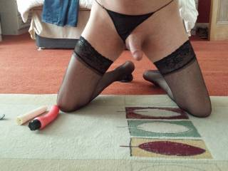 Mmmmmh,I wanna stroke your lovely stocking clad legs as I suck your beautiful cock!!