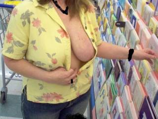 Very hot. I'm looking for the card that says Happy Valentine's Day, you have great tits. In fact, maybe I could just reach into your blouse and hold your tit up for a closer look and a long taste.