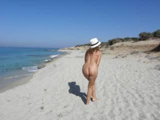 Posing naked on a nice Greek beach