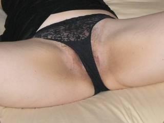 Hairy wet pussy waiting underneath panties.