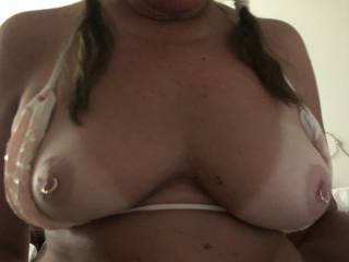 Hella Sexy Tanned Titties and Pierced Nipples