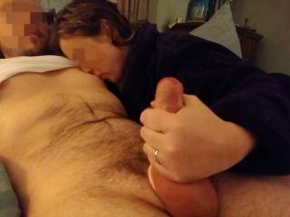 The full experience. Jerking and nipple sucking