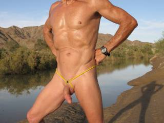 Enjoying the wearing of the BunnG outdoors while hiking naked