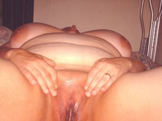 my wife and her bald pussy and big tits...
