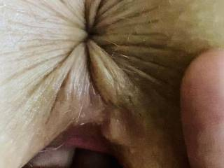 Ultra closeup.  Fingers in my pussy and ass ready & waiting ….