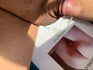 Promised a cum trib for Naughtymary.  Had a good cum for her.  Dripping down.