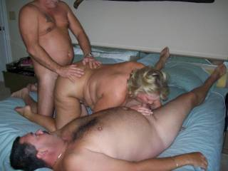 Mrs Daytonohfun from here on zoig loves to entertain more than one.  Here she is blowing hubby while getting fucked by another friend and I just blew my load into her first!