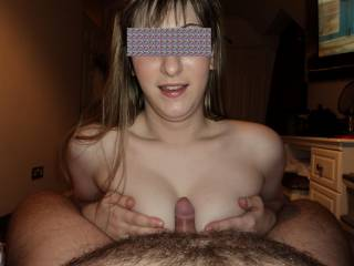 Amazingly sexy....so wish it was my cock, all ready to spray hot cum over your pretty tits xx