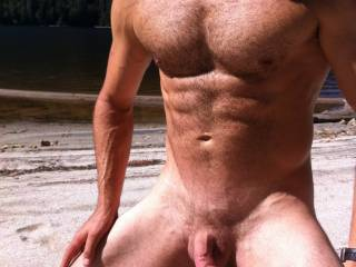 Great sexy body.  I would love to feel your chest hair rubbing my nipples as your cock stroked me.
