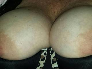 I'd love to give them a good lick and a squeeze. The. Give them a good sucking while you stroked my cock. Then I'd love to slide my hard coco between them while pulling on your fantastic nipples. Damn your hot.