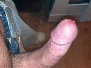 I want to lick and suck your balls...then lick up your hard thick shaft, around that big mushroom head cleaning the pre cum, then take it i my mouth and work it balls deep in my throat...feeling it swell harder, throbbing, then twitching as your hot cum shoots down my throat