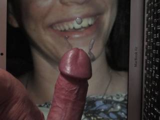And here\'s the result ... some cum for this beautiful smile! Cocking sweet girls lovely smiling face with my hard and shiny dick