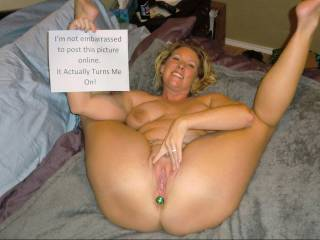 We like to post pictures like this so it is 100% evident that she is aware she\'s posted naked online, she likes to spread her legs for the camera and gets turned on knowing people have seen her like this.  Even better when she\'s recognized by strangers.
