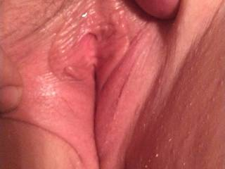 Spreading the wife\'s pussy before I fuck it.