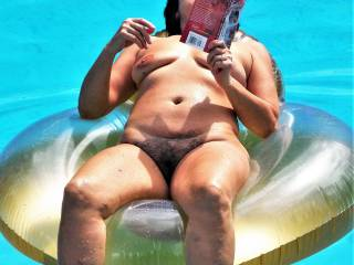 A mature wife lettings everyone in the neighborhood see her naked in the pool. She is available for all the guys in the neighborhood to fuck as often as they choose to.